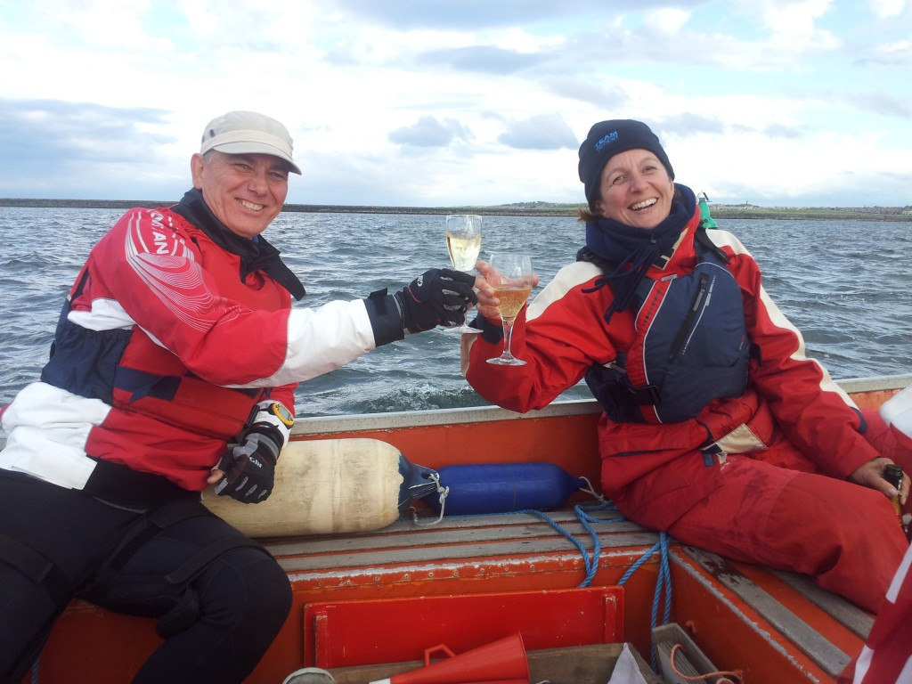 toasting a fabulous start to a race at tynemouth sailing club